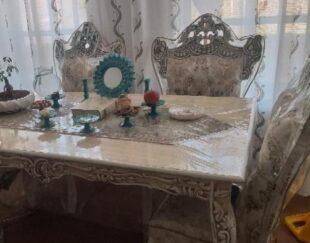 میز ناهارخوری شش نفره همراه بارانر ترمه وکاور صندلی