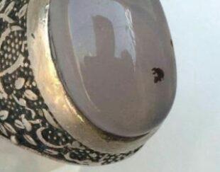 انگشتر نقره قلمزنی سه بعدی کلکسیونی با عقیق کبود